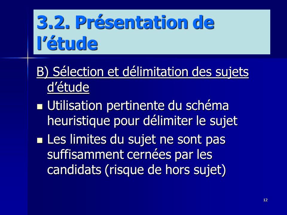 12 3.2. Présentation de létude B) Sélection et délimitation des sujets détude Utilisation pertinente du schéma heuristique pour délimiter le sujet Uti