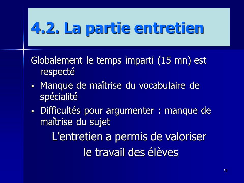18 4.2. La partie entretien Globalement le temps imparti (15 mn) est respecté Manque de maîtrise du vocabulaire de spécialité Manque de maîtrise du vo