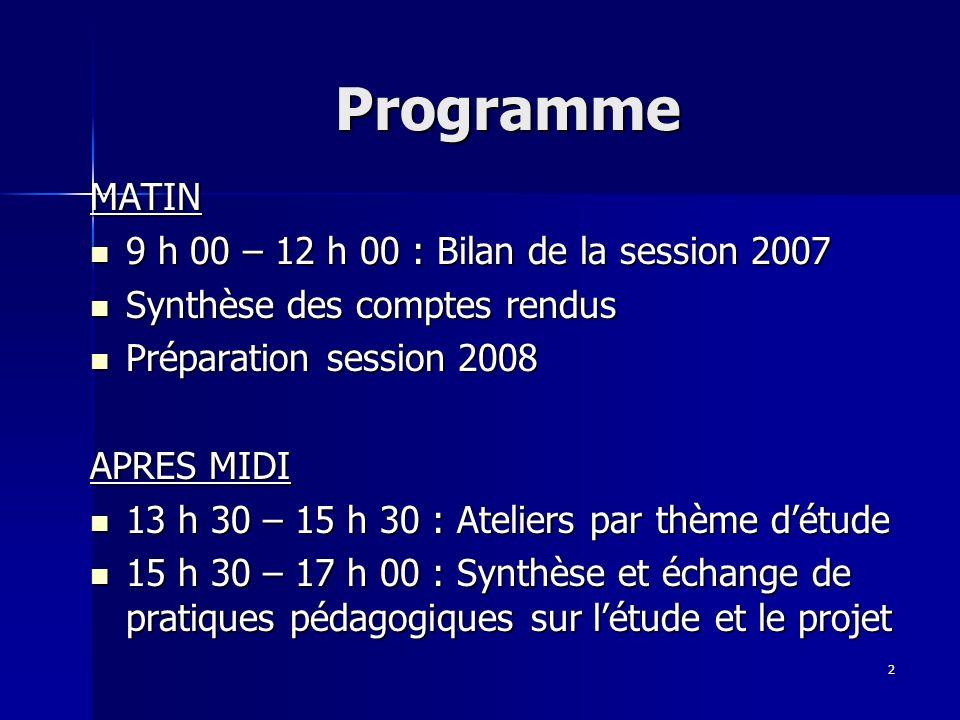 2 Programme MATIN 9 h 00 – 12 h 00 : Bilan de la session 2007 9 h 00 – 12 h 00 : Bilan de la session 2007 Synthèse des comptes rendus Synthèse des com