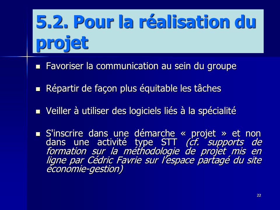 22 Favoriser la communication au sein du groupe Favoriser la communication au sein du groupe Répartir de façon plus équitable les tâches Répartir de f
