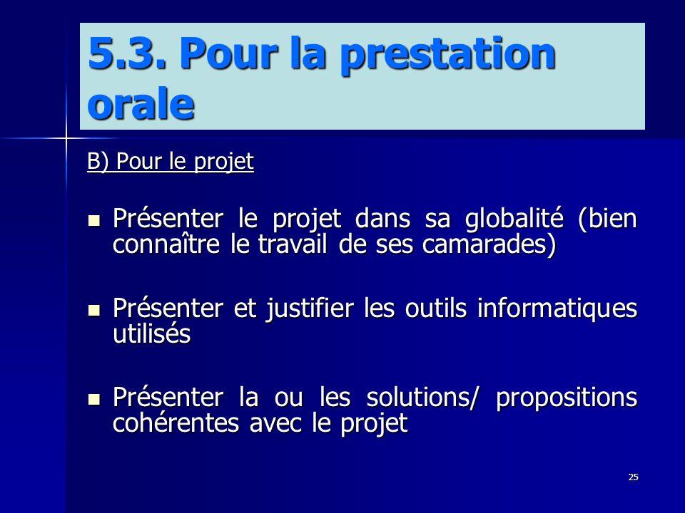 25 B) Pour le projet Présenter le projet dans sa globalité (bien connaître le travail de ses camarades) Présenter le projet dans sa globalité (bien co