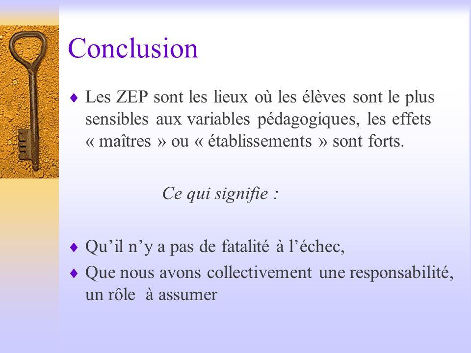 Conclusion Les ZEP sont les lieux où les élèves sont le plus sensibles aux variables pédagogiques, les effets « maîtres » ou « établissements » sont f
