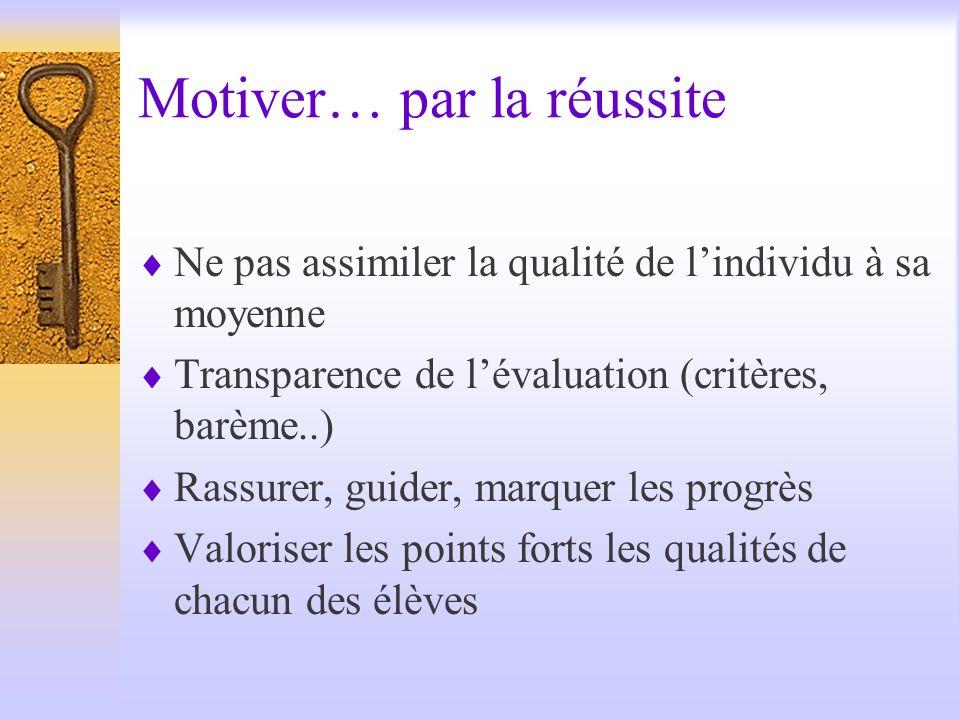 Motiver… par la réussite Ne pas assimiler la qualité de lindividu à sa moyenne Transparence de lévaluation (critères, barème..) Rassurer, guider, marq