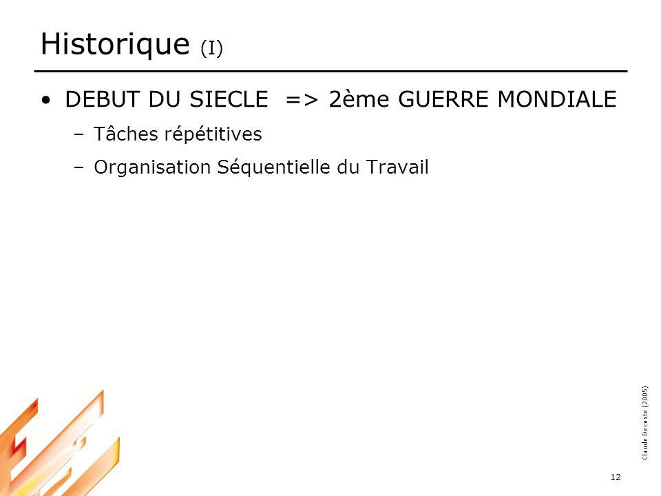 05-03-18 12 Claude Decoste (2005) Historique (I) DEBUT DU SIECLE => 2ème GUERRE MONDIALE –Tâches répétitives –Organisation Séquentielle du Travail