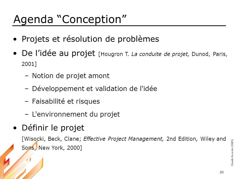 05-03-18 30 Claude Decoste (2005) Agenda Conception Projets et résolution de problèmes De lidée au projet [Hougron T.