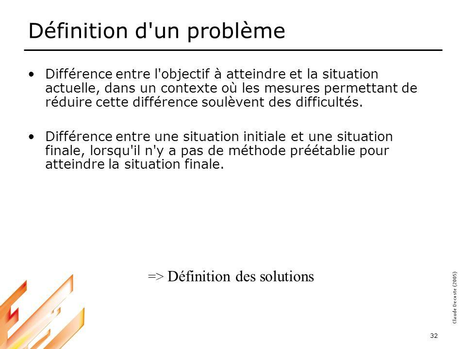 05-03-18 32 Claude Decoste (2005) Définition d un problème Différence entre l objectif à atteindre et la situation actuelle, dans un contexte où les mesures permettant de réduire cette différence soulèvent des difficultés.