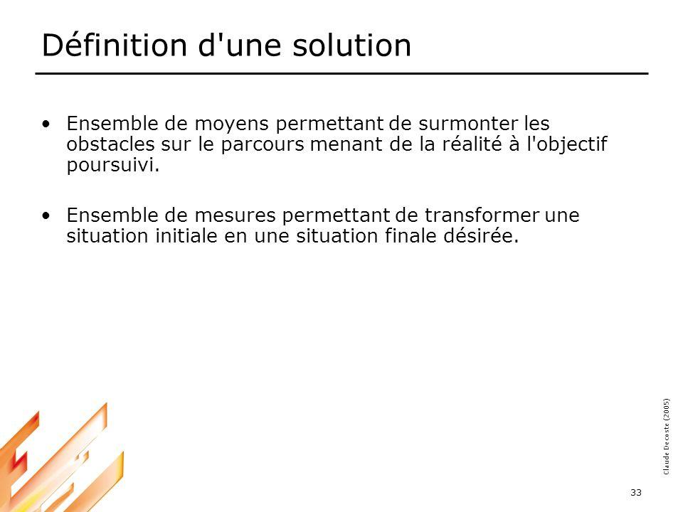 05-03-18 33 Claude Decoste (2005) Définition d une solution Ensemble de moyens permettant de surmonter les obstacles sur le parcours menant de la réalité à l objectif poursuivi.