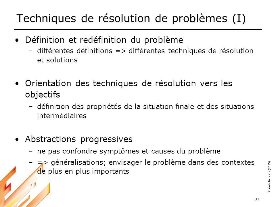 05-03-18 38 Claude Decoste (2005) Techniques de résolution de problèmes (II) Analogies –problèmes : infini; catégories : fini –problème2 : de catégorie identique à problème1, dont la solution est solution1 => solution2 comparable à solution1 Extrapolations –solution qui déborde du cadre de la définition –le problème constitue un cas particulier d un problème général