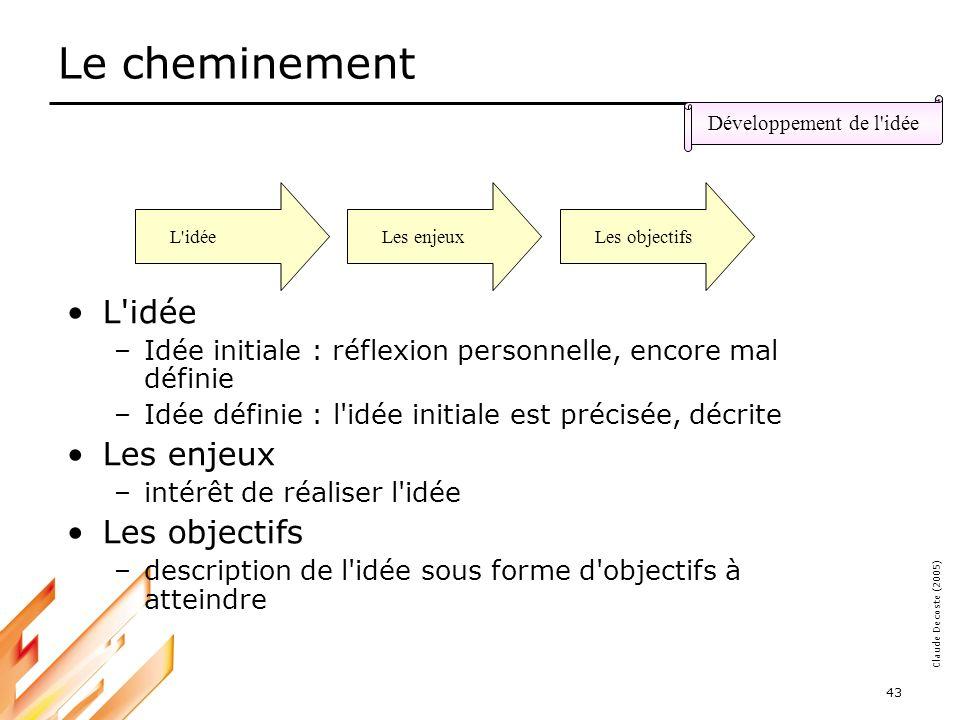 05-03-18 44 Claude Decoste (2005) Définir l idée initiale Définir l idée en terme de résultats attendus et différence par rapport à la situation actuelle –Quels changements attendus .