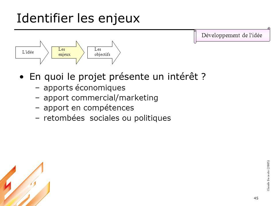 05-03-18 45 Claude Decoste (2005) Identifier les enjeux En quoi le projet présente un intérêt .