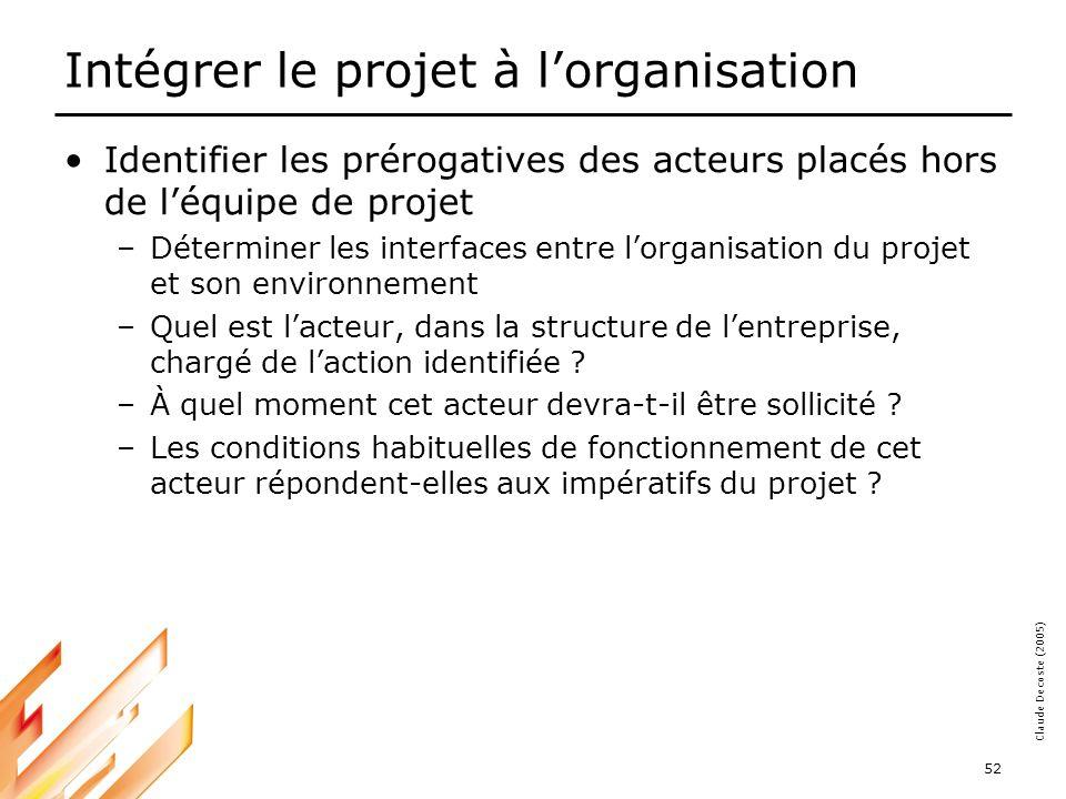 05-03-18 52 Claude Decoste (2005) Intégrer le projet à lorganisation Identifier les prérogatives des acteurs placés hors de léquipe de projet –Déterminer les interfaces entre lorganisation du projet et son environnement –Quel est lacteur, dans la structure de lentreprise, chargé de laction identifiée .