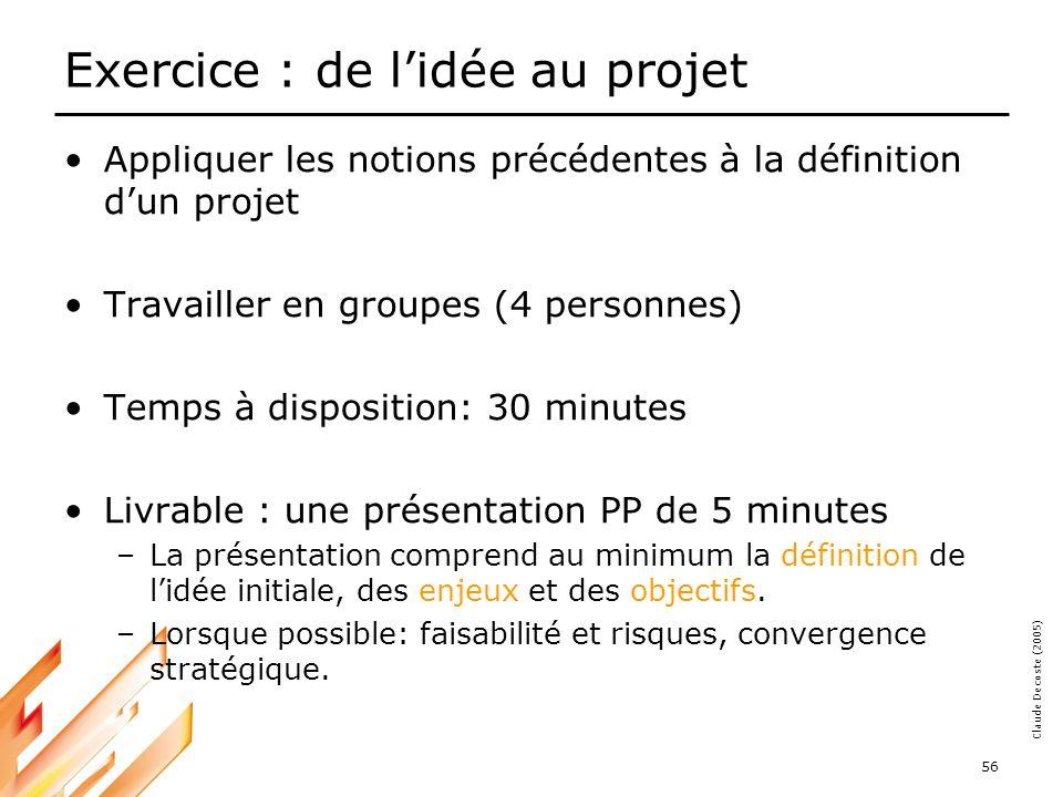 05-03-18 57 Claude Decoste (2005) DÉFINIR ET DÉLIMITER LE PROJET Références: Wisocki, Beck, Clane; Effective Project Management, 2nd Edition, Wiley and Sons, New York, 2000