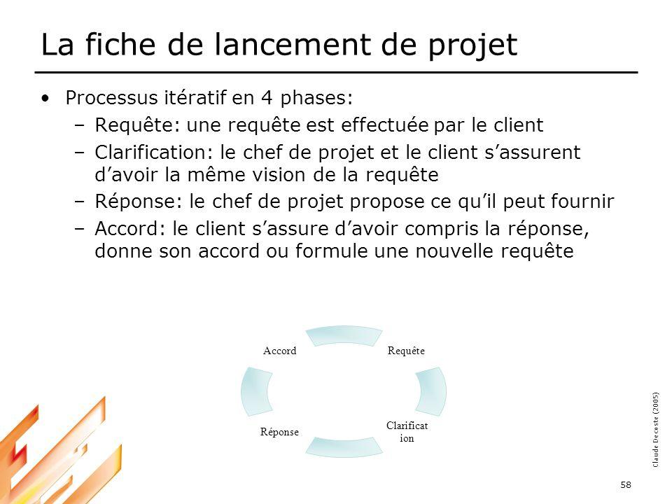 05-03-18 58 Claude Decoste (2005) La fiche de lancement de projet Processus itératif en 4 phases: –Requête: une requête est effectuée par le client –Clarification: le chef de projet et le client sassurent davoir la même vision de la requête –Réponse: le chef de projet propose ce quil peut fournir –Accord: le client sassure davoir compris la réponse, donne son accord ou formule une nouvelle requête Accord Réponse Clarificat ion Requête