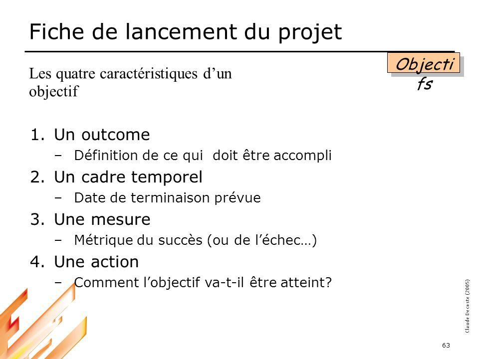 05-03-18 64 Claude Decoste (2005) Fiche de lancement du projet Critères de succès Que doit-on atteindre pour que le projet soit considéré comme réussi.