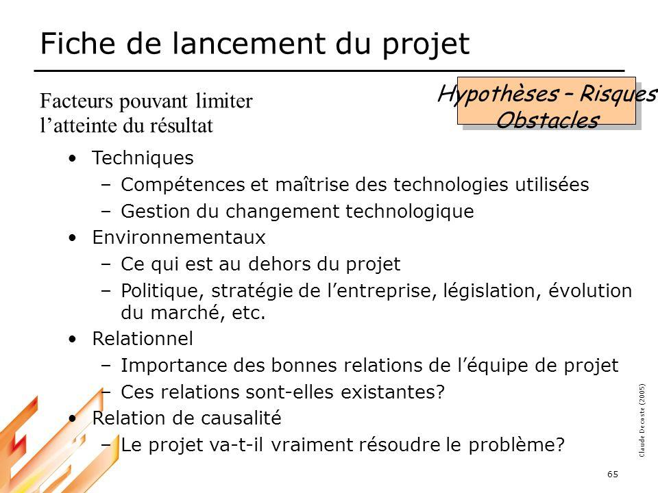 05-03-18 66 Claude Decoste (2005) Exercice 2 : La fiche de lancement de projet Livrable : une fiche de lancement complète –Problème –But –Objectifs –Critères de succès –Hypothèses, risques et obstacles À remettre la semaine prochaine.