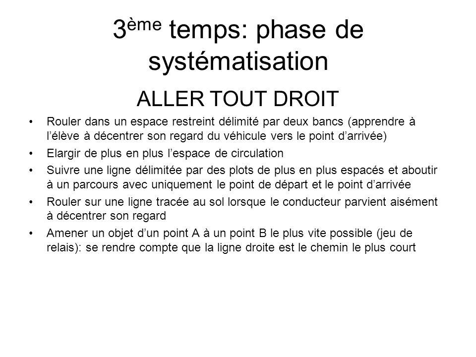 3 ème temps: phase de systématisation ALLER TOUT DROIT Rouler dans un espace restreint délimité par deux bancs (apprendre à lélève à décentrer son reg