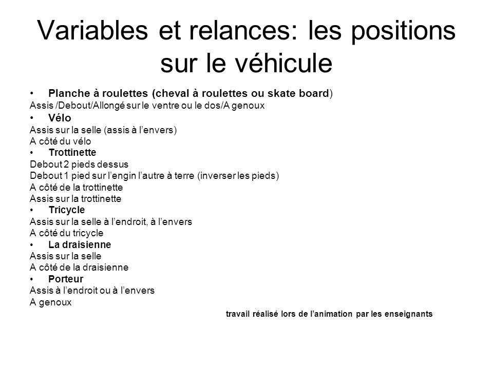 Variables et relances: les positions sur le véhicule Planche à roulettes (cheval à roulettes ou skate board) Assis /Debout/Allongé sur le ventre ou le