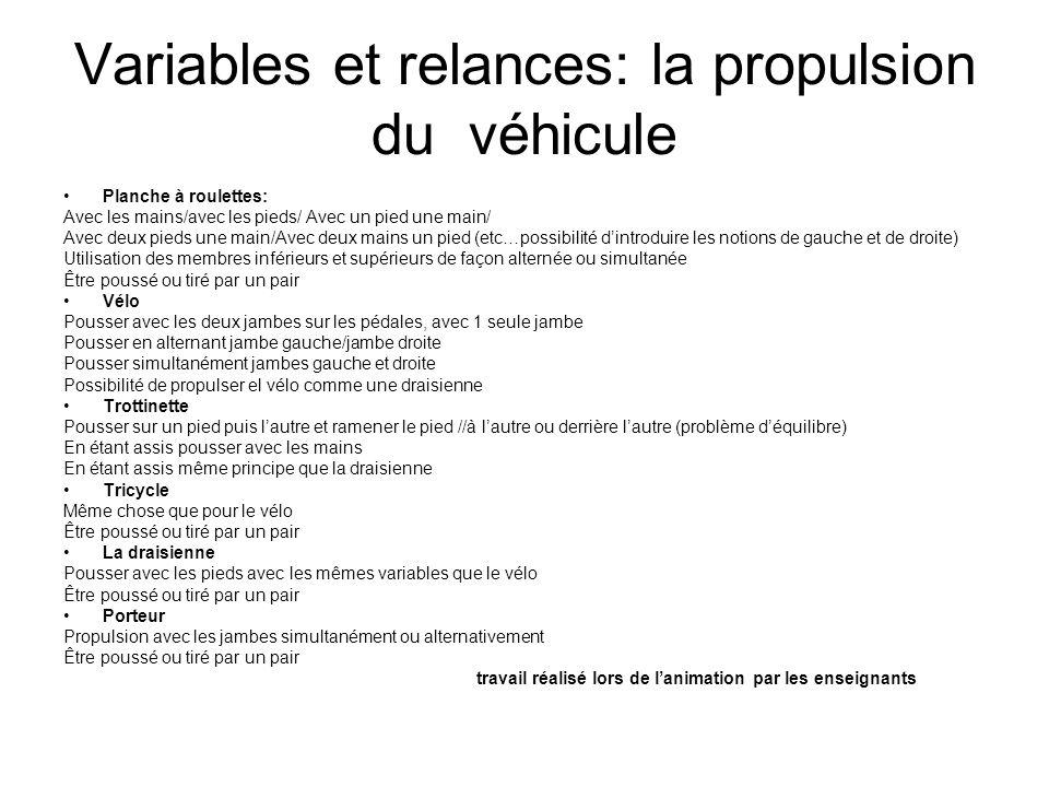 Variables et relances: la propulsion du véhicule Planche à roulettes: Avec les mains/avec les pieds/ Avec un pied une main/ Avec deux pieds une main/A