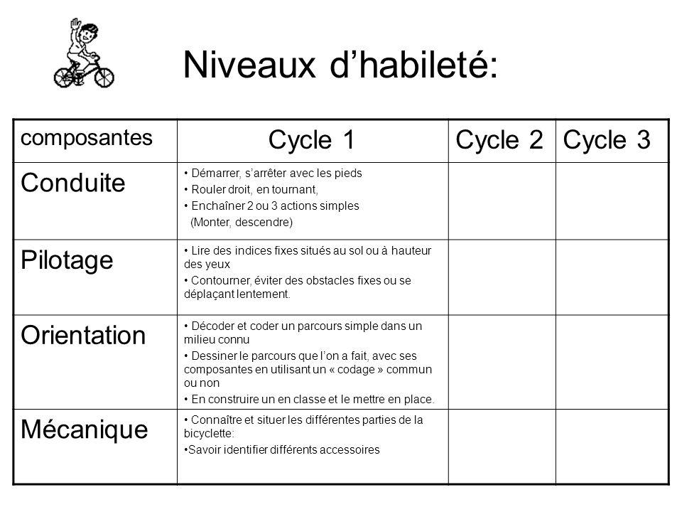 Niveaux dhabileté: composantes Cycle 1Cycle 2Cycle 3 Conduite Démarrer, sarrêter avec les pieds Rouler droit, en tournant, Enchaîner 2 ou 3 actions si