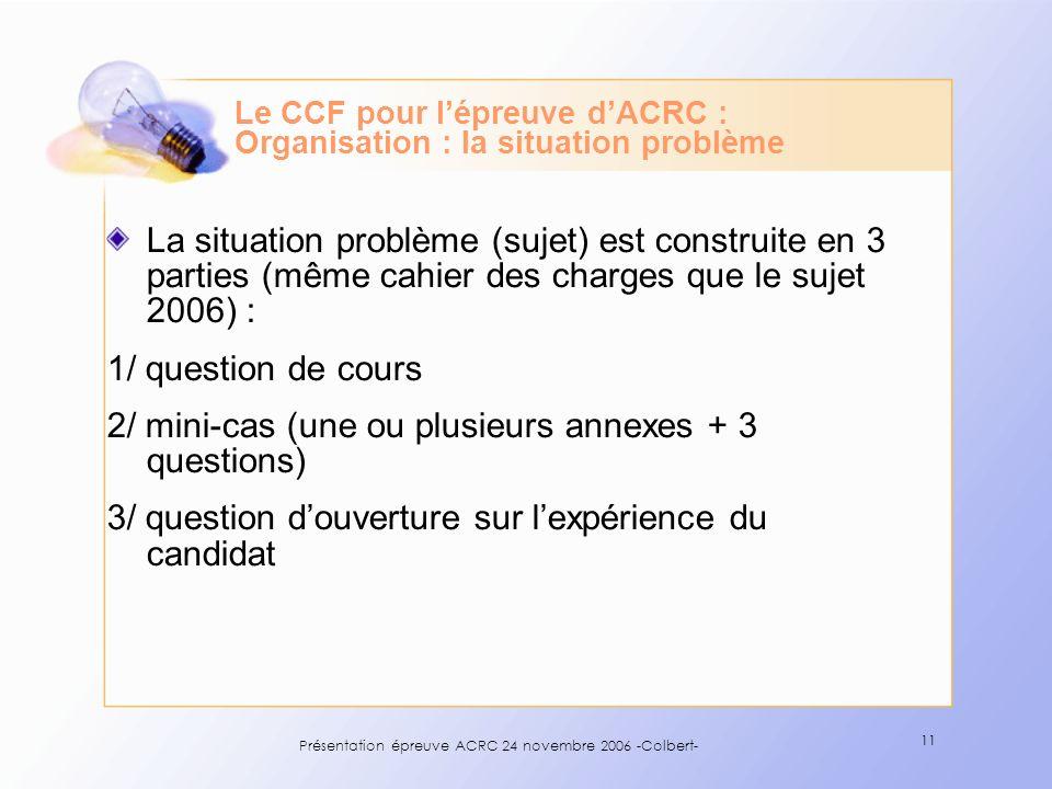 Présentation épreuve ACRC 24 novembre 2006 -Colbert- 11 Le CCF pour lépreuve dACRC : Organisation : la situation problème La situation problème (sujet