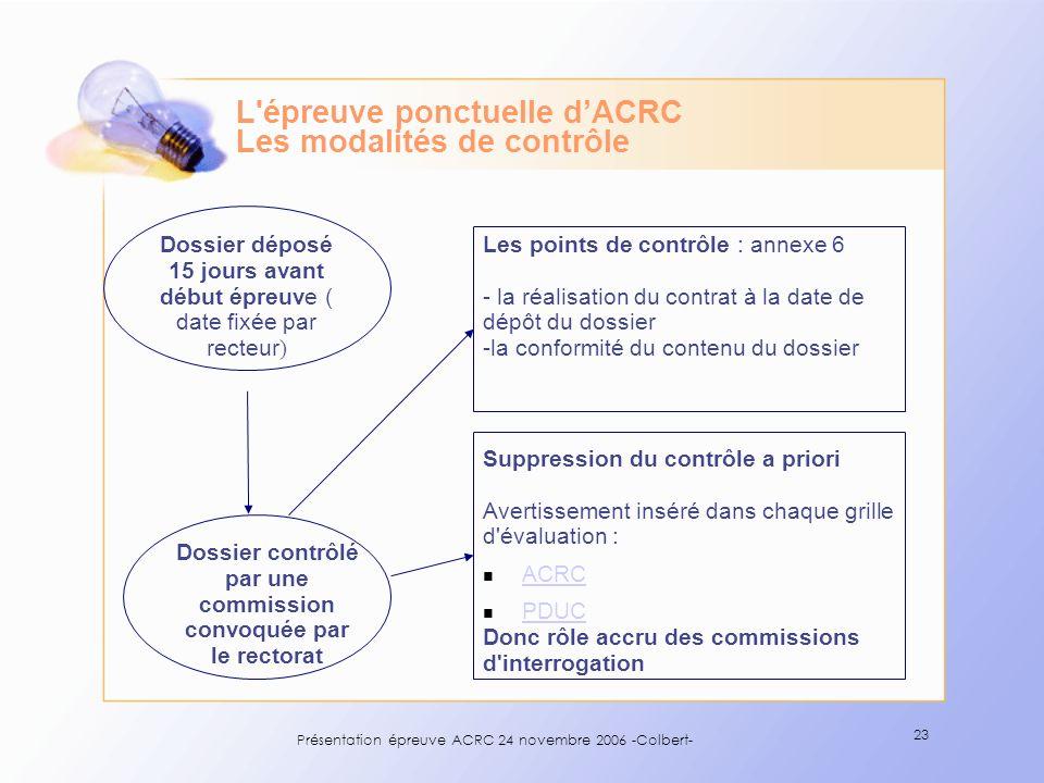 Présentation épreuve ACRC 24 novembre 2006 -Colbert- 23 Dossier déposé 15 jours avant début épreuve ( date fixée par recteur ) Dossier contrôlé par un