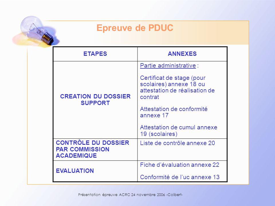 Présentation épreuve ACRC 24 novembre 2006 -Colbert- Epreuve de PDUC ETAPESANNEXES CREATION DU DOSSIER SUPPORT Partie administrative : Certificat de s