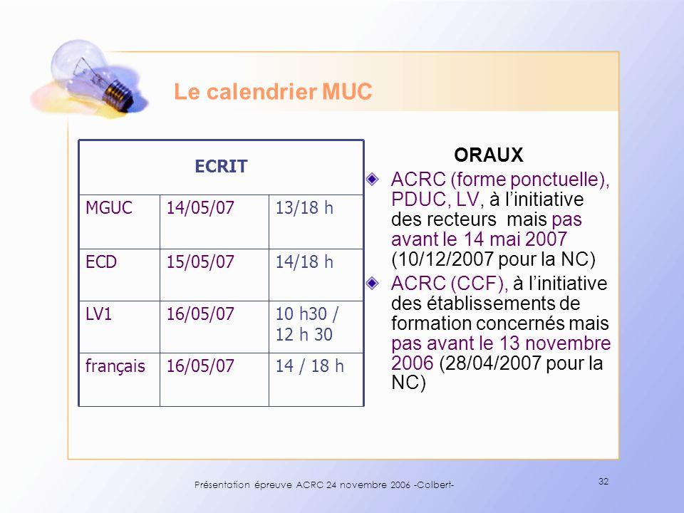 Présentation épreuve ACRC 24 novembre 2006 -Colbert- 32 Le calendrier MUC ORAUX ACRC (forme ponctuelle), PDUC, LV, à linitiative des recteurs mais pas