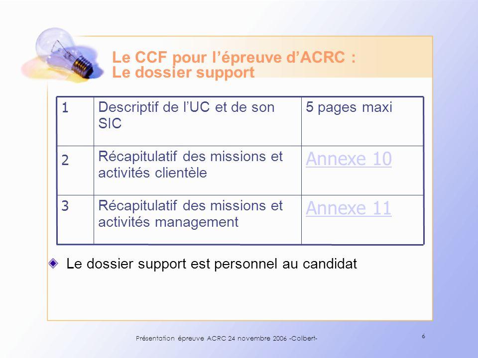 Présentation épreuve ACRC 24 novembre 2006 -Colbert- 6 Le CCF pour lépreuve dACRC : Le dossier support Annexe 11 Récapitulatif des missions et activit