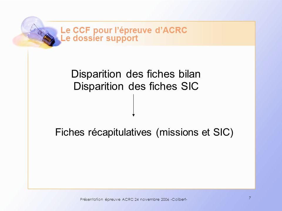 Présentation épreuve ACRC 24 novembre 2006 -Colbert- 7 Le CCF pour lépreuve dACRC Le dossier support Disparition des fiches bilan Disparition des fich