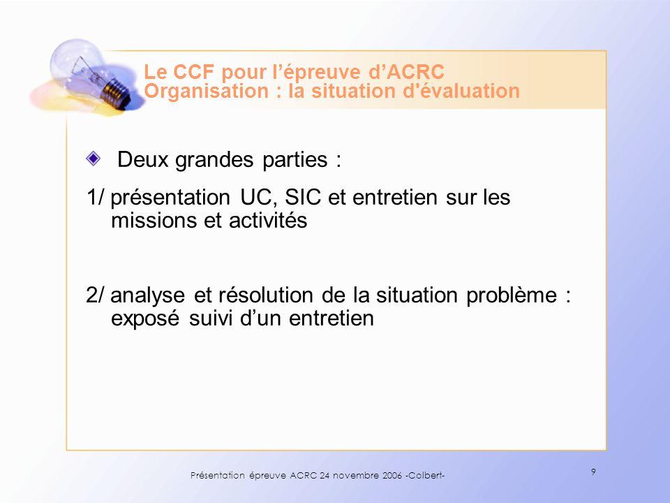 Présentation épreuve ACRC 24 novembre 2006 -Colbert- 9 Deux grandes parties : 1/ présentation UC, SIC et entretien sur les missions et activités 2/ an