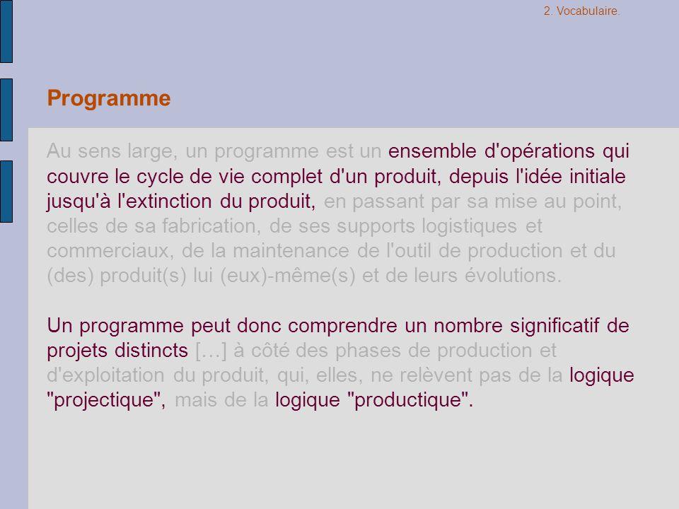 Programme Au sens large, un programme est un ensemble d'opérations qui couvre le cycle de vie complet d'un produit, depuis l'idée initiale jusqu'à l'e