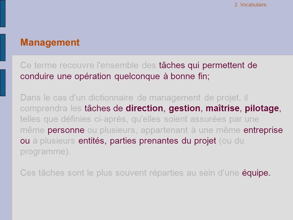 Management Ce terme recouvre l'ensemble des tâches qui permettent de conduire une opération quelconque à bonne fin; Dans le cas d'un dictionnaire de m