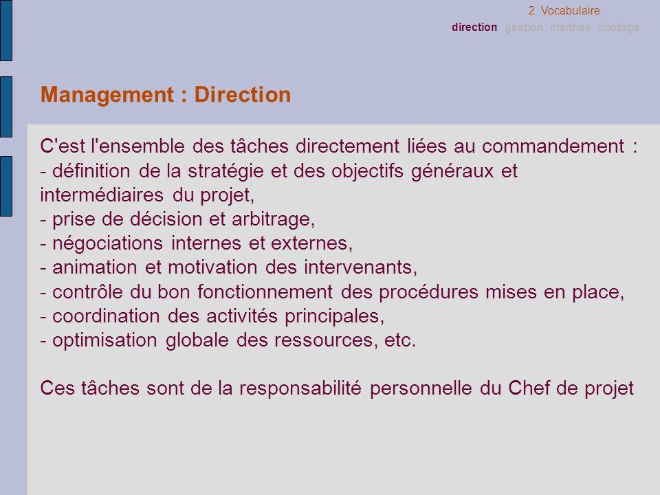 Management : Direction C'est l'ensemble des tâches directement liées au commandement : - définition de la stratégie et des objectifs généraux et inter