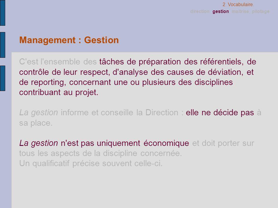 Management : Gestion C'est l'ensemble des tâches de préparation des référentiels, de contrôle de leur respect, d'analyse des causes de déviation, et d