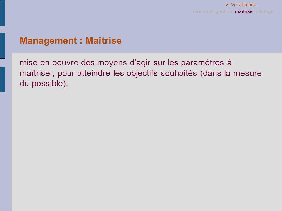 Management : Maîtrise mise en oeuvre des moyens d'agir sur les paramètres à maîtriser, pour atteindre les objectifs souhaités (dans la mesure du possi