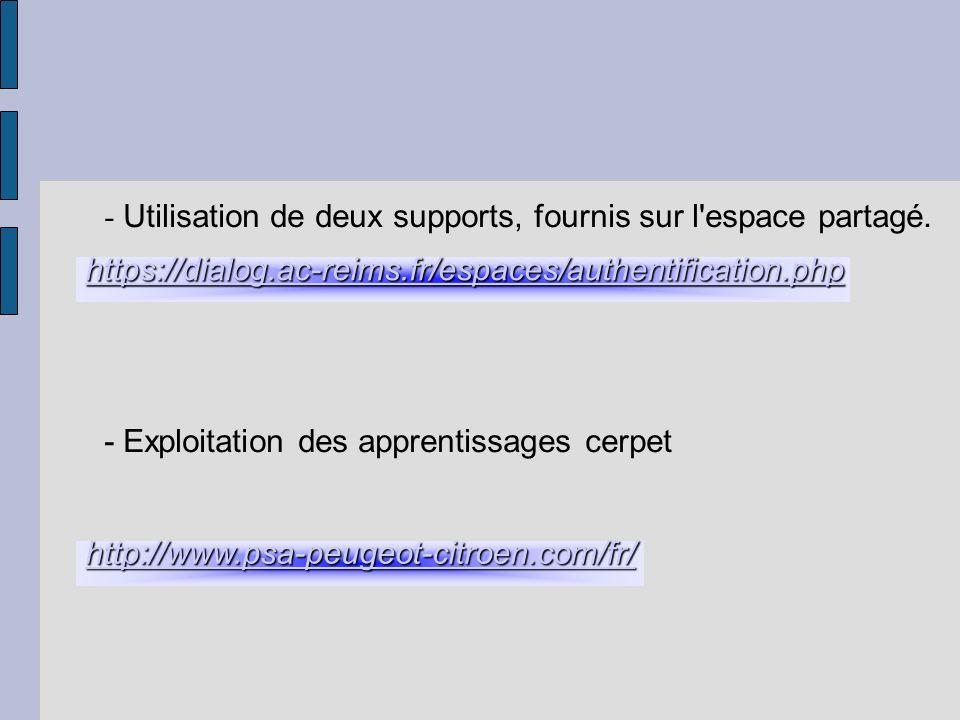 - Utilisation de deux supports, fournis sur l'espace partagé. - Exploitation des apprentissages cerpet https://dialog.ac-reims.fr/espaces/authentifica
