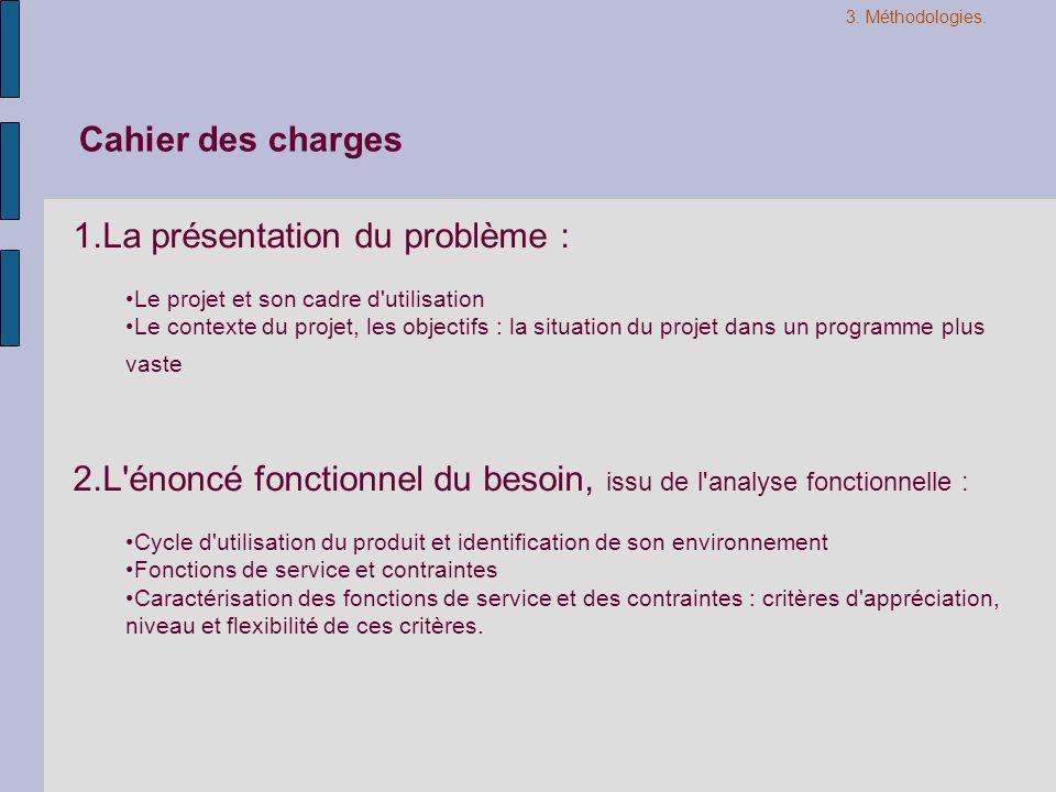 1.La présentation du problème : Le projet et son cadre d'utilisation Le contexte du projet, les objectifs : la situation du projet dans un programme p