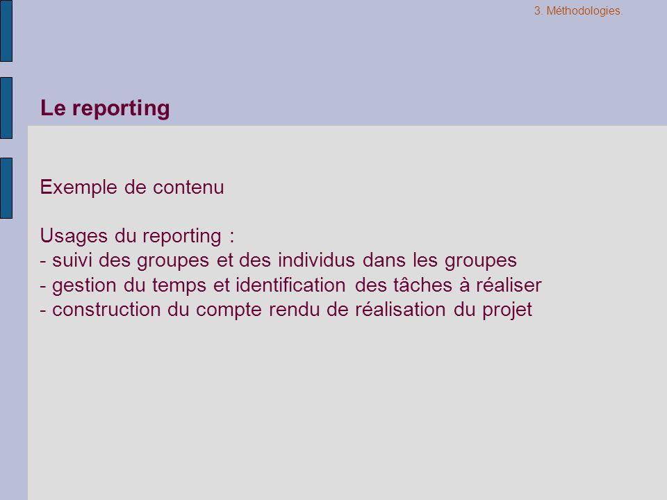 Le reporting Exemple de contenu Usages du reporting : - suivi des groupes et des individus dans les groupes - gestion du temps et identification des t