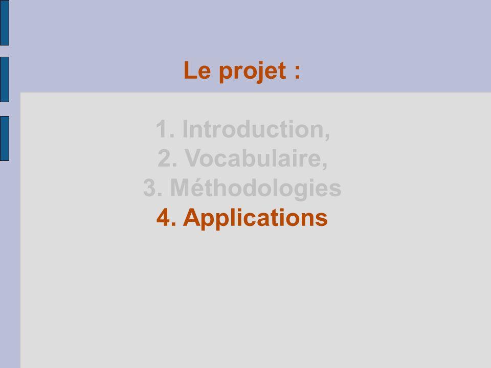 Le projet : 1. Introduction, 2. Vocabulaire, 3. Méthodologies 4. Applications