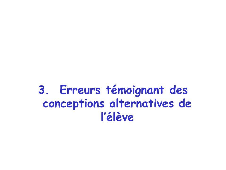 3. Erreurs témoignant des conceptions alternatives de lélève