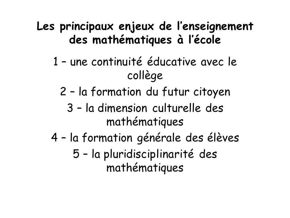 Les principaux enjeux de lenseignement des mathématiques à lécole 1 – une continuité éducative avec le collège 2 – la formation du futur citoyen 3 – l