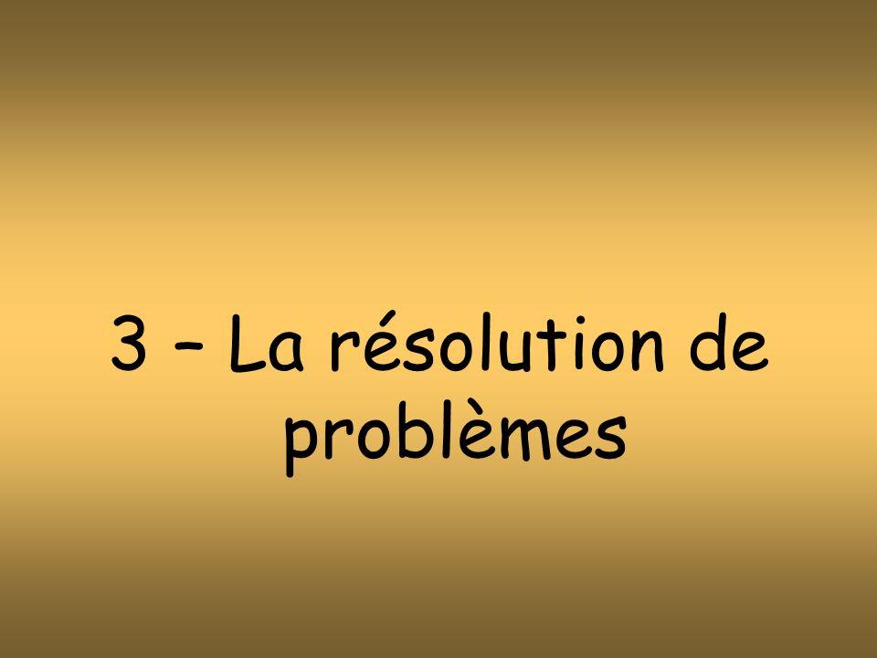 3 – La résolution de problèmes
