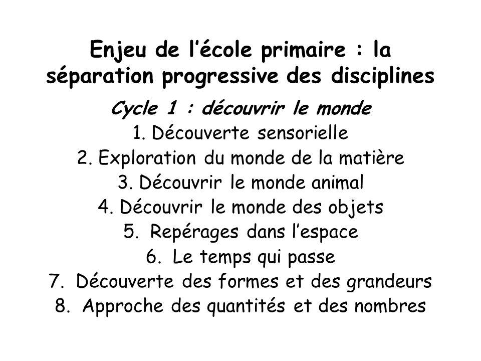 Enjeu de lécole primaire : la séparation progressive des disciplines Cycle 1 : découvrir le monde 1. Découverte sensorielle 2. Exploration du monde de