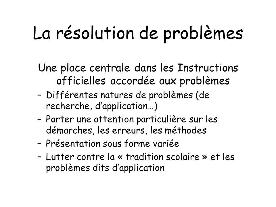 La résolution de problèmes Une place centrale dans les Instructions officielles accordée aux problèmes –Différentes natures de problèmes (de recherche