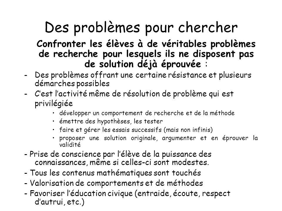 Des problèmes pour chercher Confronter les élèves à de véritables problèmes de recherche pour lesquels ils ne disposent pas de solution déjà éprouvée