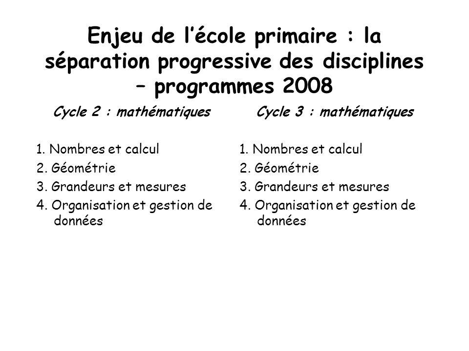Enjeu de lécole primaire : la séparation progressive des disciplines – programmes 2008 Cycle 2 : mathématiques 1. Nombres et calcul 2. Géométrie 3. Gr