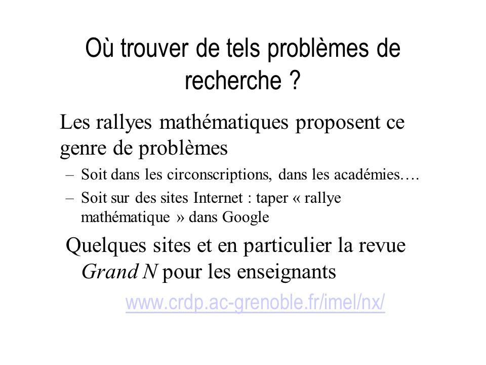 Où trouver de tels problèmes de recherche ? Les rallyes mathématiques proposent ce genre de problèmes –Soit dans les circonscriptions, dans les académ