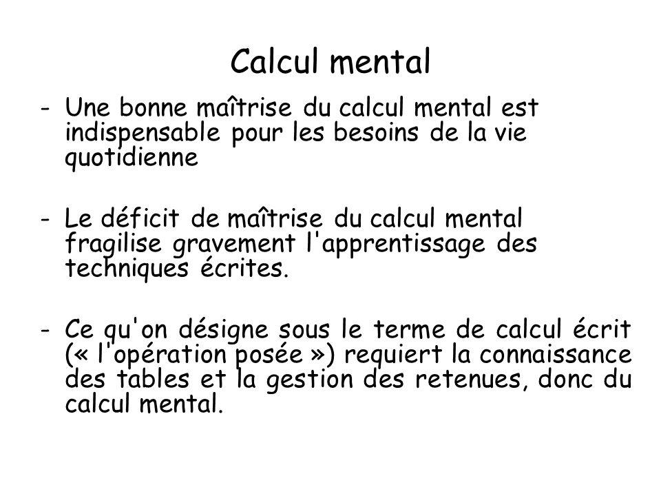 Calcul mental -Une bonne maîtrise du calcul mental est indispensable pour les besoins de la vie quotidienne -Le déficit de maîtrise du calcul mental f