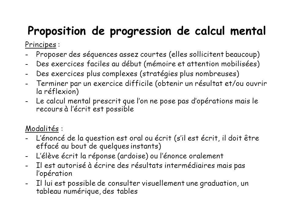 Proposition de progression de calcul mental Principes : -Proposer des séquences assez courtes (elles sollicitent beaucoup) -Des exercices faciles au d