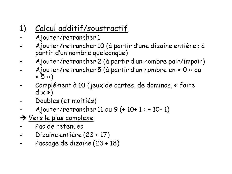 1)Calcul additif/soustractif -Ajouter/retrancher 1 -Ajouter/retrancher 10 (à partir dune dizaine entière ; à partir dun nombre quelconque) -Ajouter/re